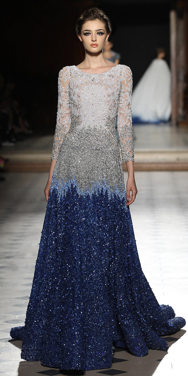 tony ward couture fall winter 2015 2016 look 7 long sleeve evening couture dress blue skirt embellished