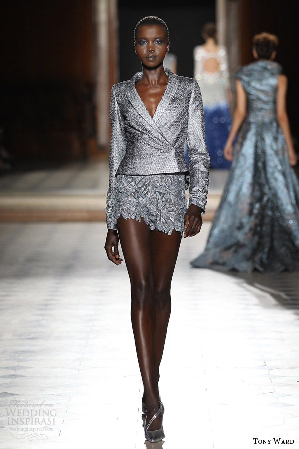tony ward couture fall winter 2015 2016 look 9 silver blazer jacket crystalline motif bottom