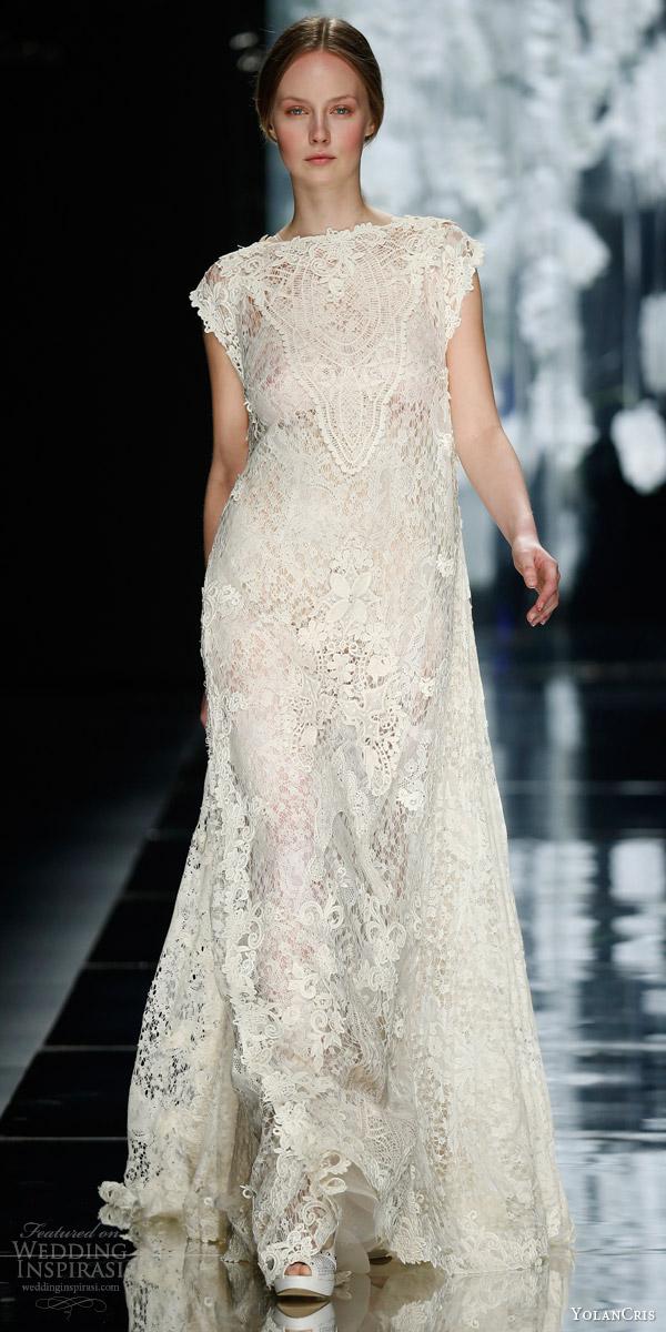 yolan cris bridal 2016 amposta cap sleeve abaya kaftan guipure crochet wedding dress