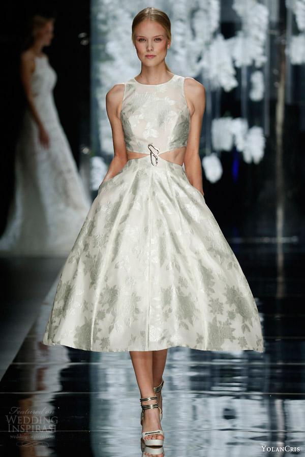 yolan cris bridal 2016 begar sleeveless tea length wedding dress side cutout crop