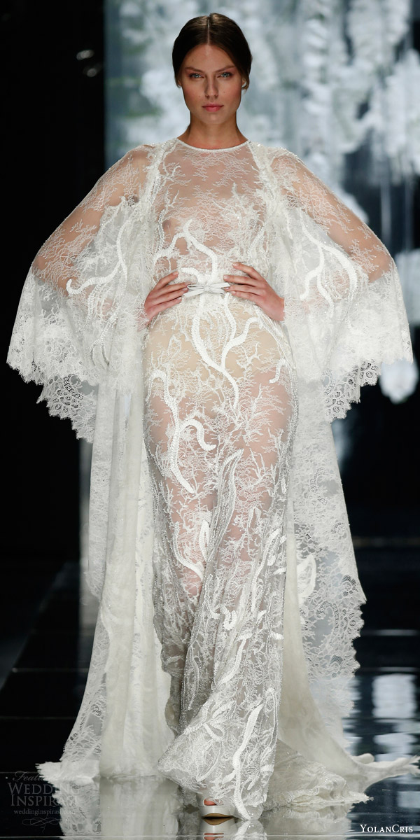 yolan cris bridal 2016 navas wedding dress floor length lace jacket