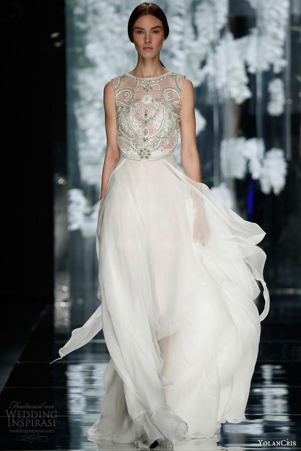 yolan cris bridal 2016 noguera sleeveless wedding dress embellished illusion bodice