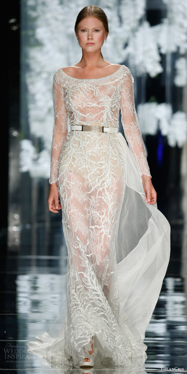 yolan cris bridal 2016 opalo bateau neck illusion sheath wedding dress with long sleeves