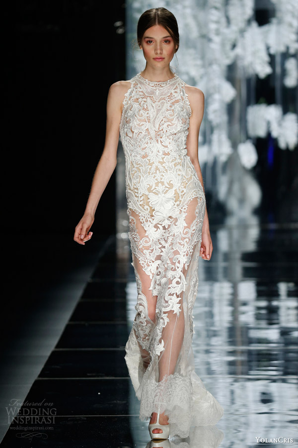 yolan cris bridal 2016 vilamar sleeveless lace sheath wedding dress