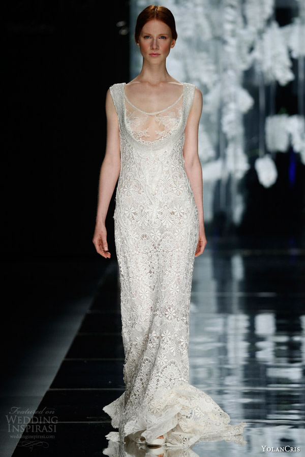 yolan cris orchid bridal 2016 badal sleeveless sheath lace wedding dress