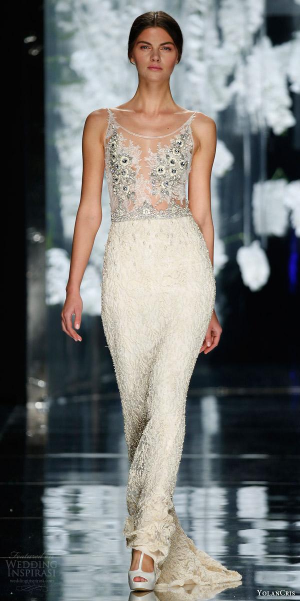 yolan cris orchid bridal 2016 dante sleeveless sheath wedding dress illusion bodice beaded skirt