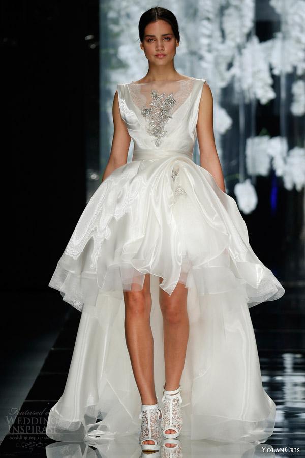 yolan cris wedding dress 2016 tarragona sleeveless high to low wedding dress illusion neckline