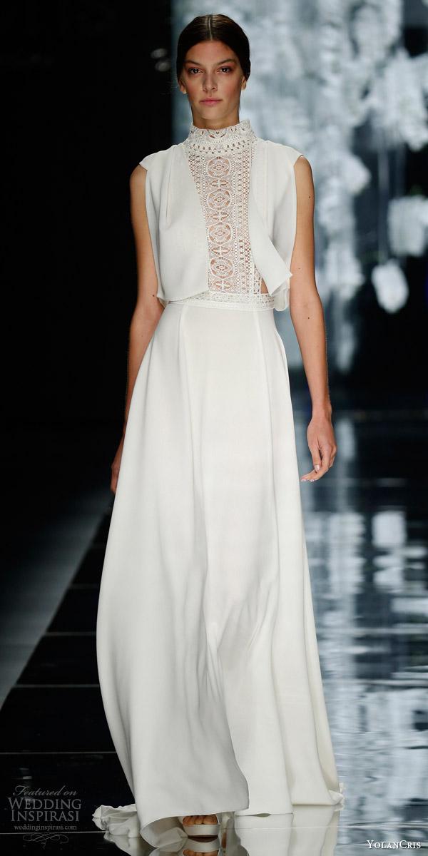 yolancris bridal 2016 avenir wedding dress high neckline