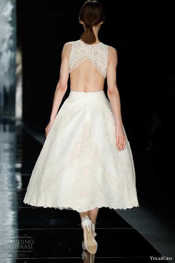 yolancris bridal 2016 bailen tea length wedding dress jacquard bodice side cutout open back view