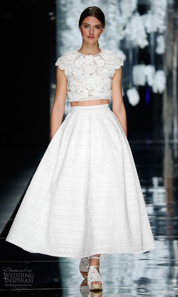 yolancris bridal 2016 berenguer two piece wedding dress cotton guipure lace cap sleeve crop top midi tea length skirt