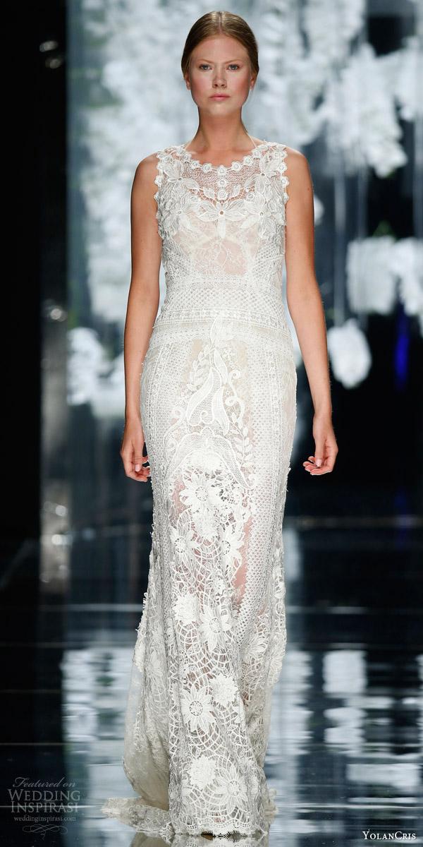 yolancris bridal 2016 bonanova sleeveless guipure wedding dress lace appliques