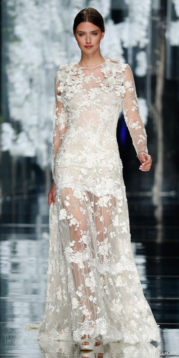 yolancris bridal 2016 cartegena illusion long sleeve wedding dress floral applique