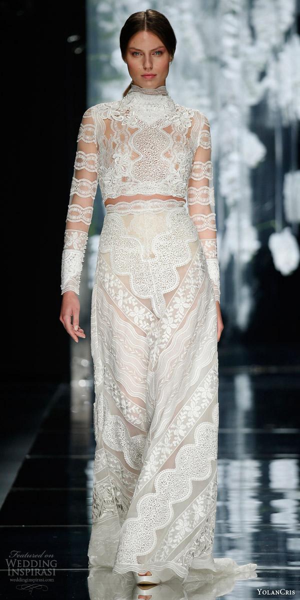 yolancris bridal 2016 castelao two piece wedding dress illusion long sleeve crop top skirt greek style valances
