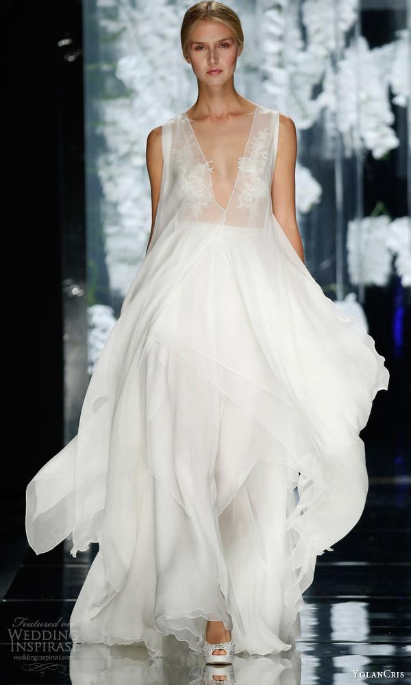 yolancris bridal 2016 felie sleeveless wedding dress diaphanous layers illusion bodice