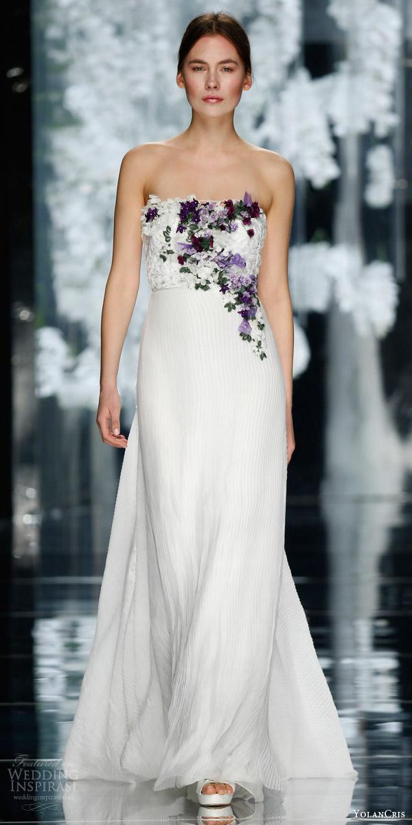 yolancris bridal 2016 fontanella strapless wedding dress pleated chiffon skirt mauve0purple 3d flower applique bodice