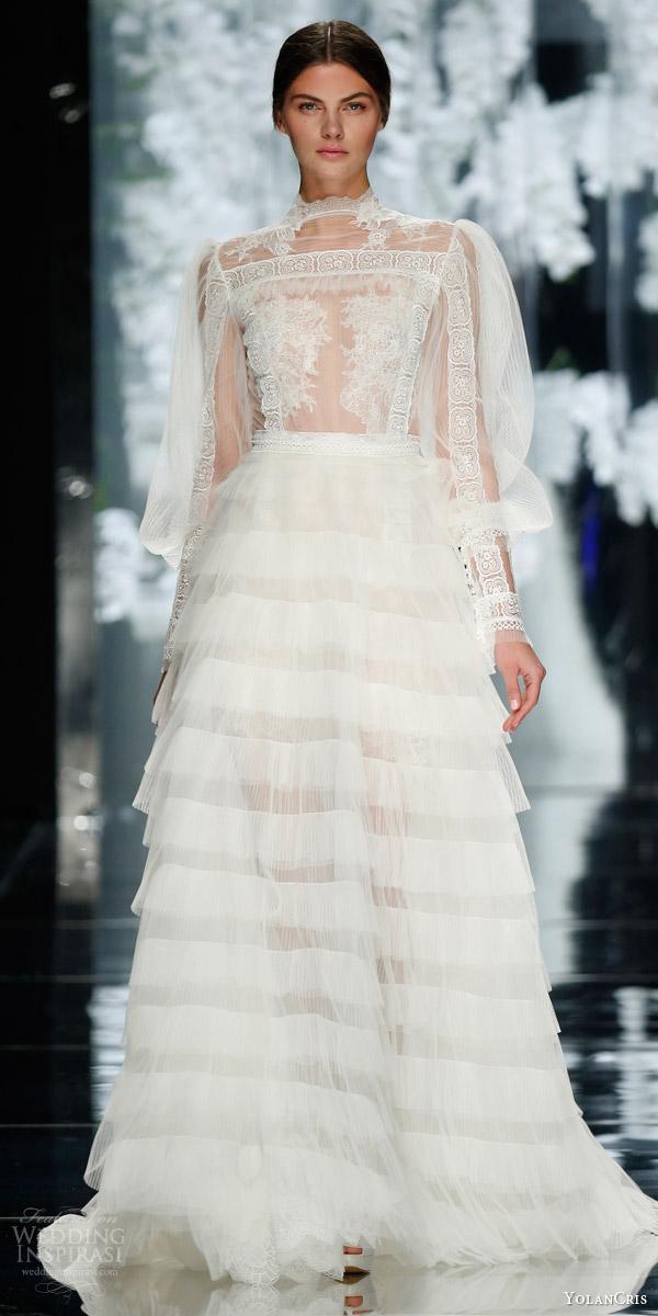 yolancris bridal 2016 francoli illusion top wedding dress tiered skirt