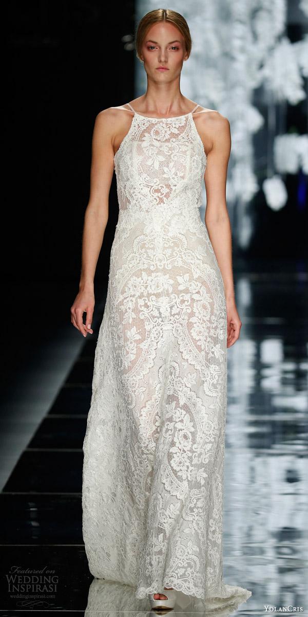 yolancris bridal 2016 leiva sleeveless lace wedding dress