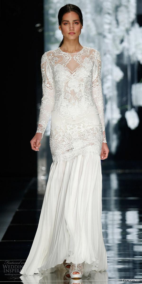 yolancris bridal 2016 montbau long sleeve lace wedding dress chiffon skirt