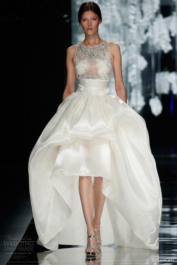 yolancris bridal 2016 numancia sleeveless high to low ball gown wedding dress embeliished lace bodice