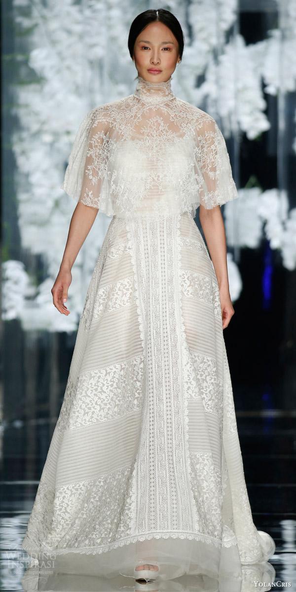 yolancris bridal 2016 olesa wedding dress chantilly lace high neck capelet