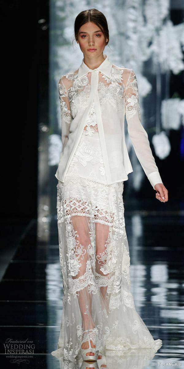 yolancris bridal 2016 pelayo pret a couture wedding dress collar blouse jacket sheer skirt