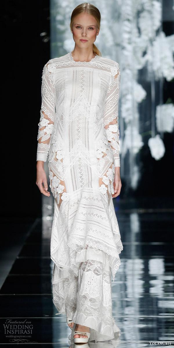 yolancris bridal 2016 rocafort boho chic long sleeve macrame guipure lace wedding dress