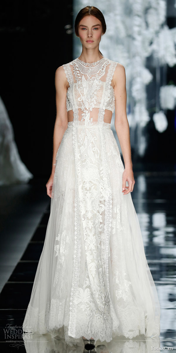 yolancris bridal 2016 romantic couture atocha boho sleeveless lace wedding dress cutout
