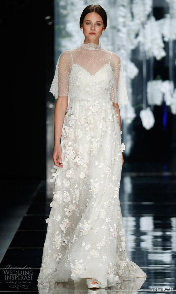 yolancris bridal 2016 sagrera wedding dress floral applique dotted tulle capelet high neck