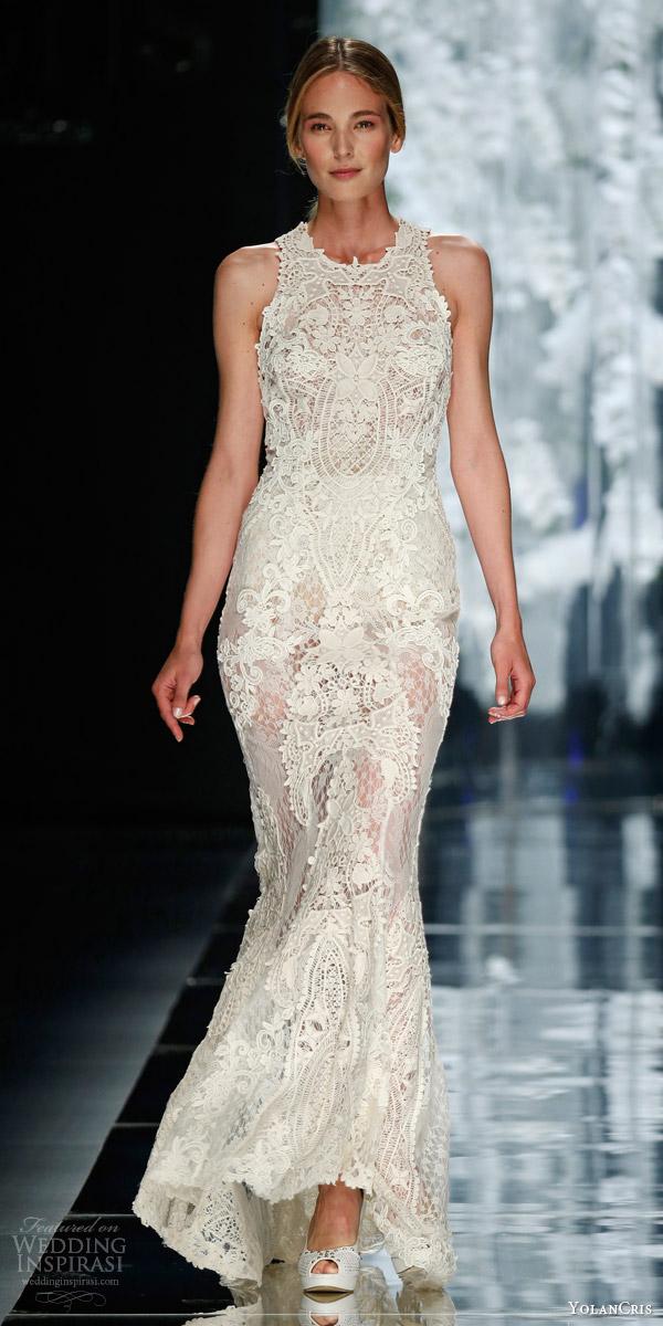 yolancris bridal 2016 urquinaona sleeveless crochet wedding dress guipure appliques