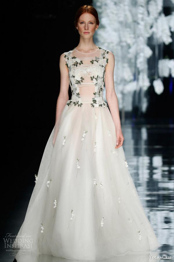 yolancris bridal 2016 viladomat sleeveless tulle wedding dress floral appliques