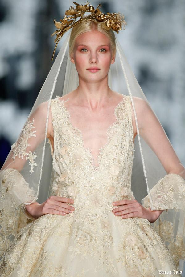 yolancris orchid 2016 bridal finale llunas sleeveless ball gown wedding dress gold headpiece veil close up