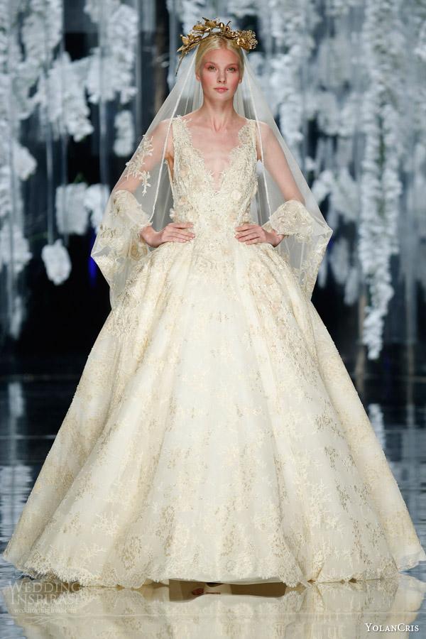 yolancris orchid 2016 bridal finale llunas sleeveless ball gown wedding dress gold headpiece