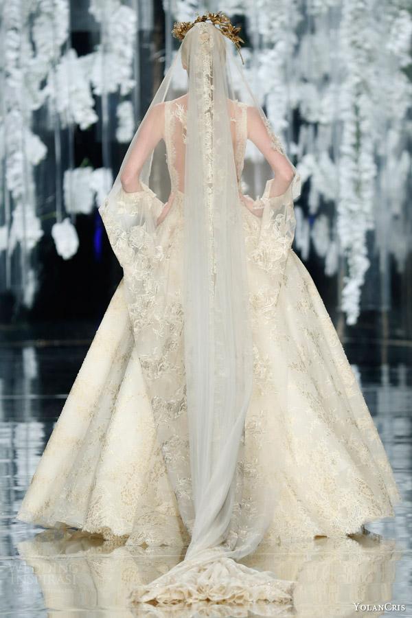 yolancris orchid 2016 bridal finale llunas sleeveless gold ball gown wedding dress golded headpiece veil back view