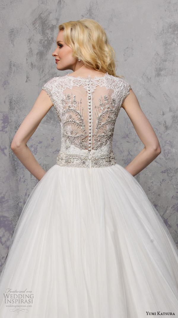 yumi katsura spring 2016 bridal sleeveless illusion jewel neckline ball gown wedding dress belinda back view close up