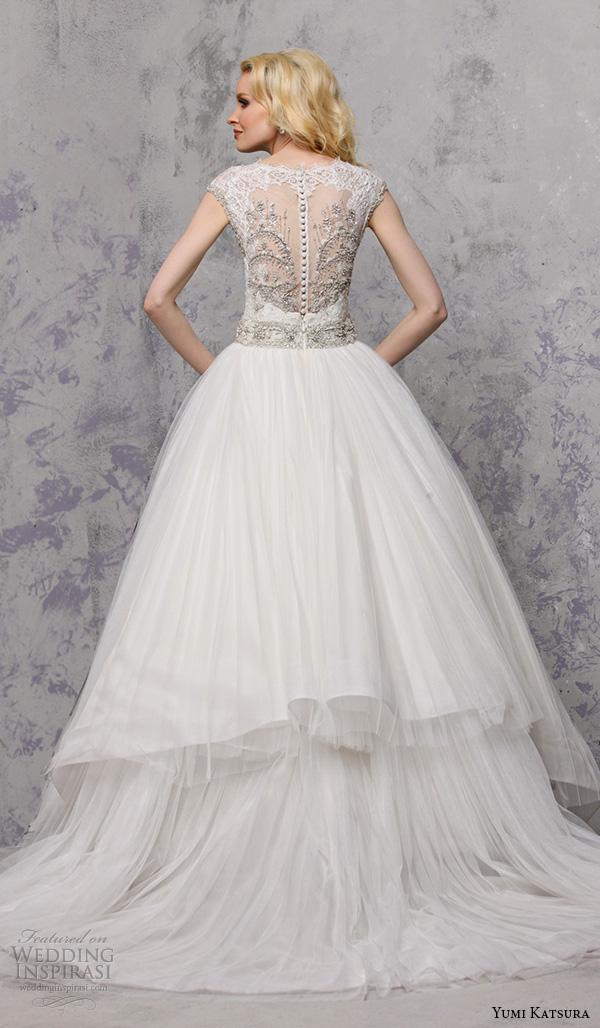 yumi katsura spring 2016 bridal sleeveless illusion jewel neckline ball gown wedding dress belinda back view