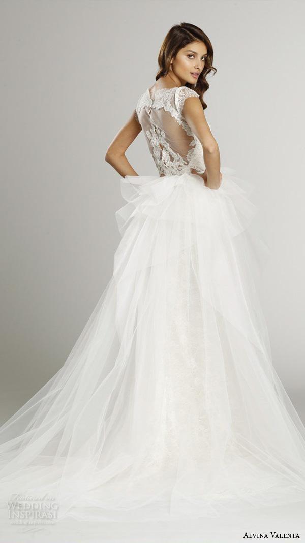 alvina valenta fall 2015 wedding dresses cap sleeves bateau neckline lace bodice detachable tulle overskirt jeweled belt ball gown dress av9552 back view