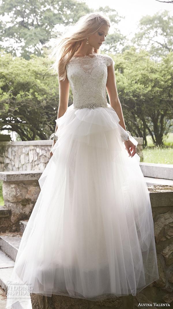alvina valenta fall 2015 wedding dresses cap sleeves bateau neckline lace bodice detachable tulle overskirt jeweled belt sheath or a line dress av9552
