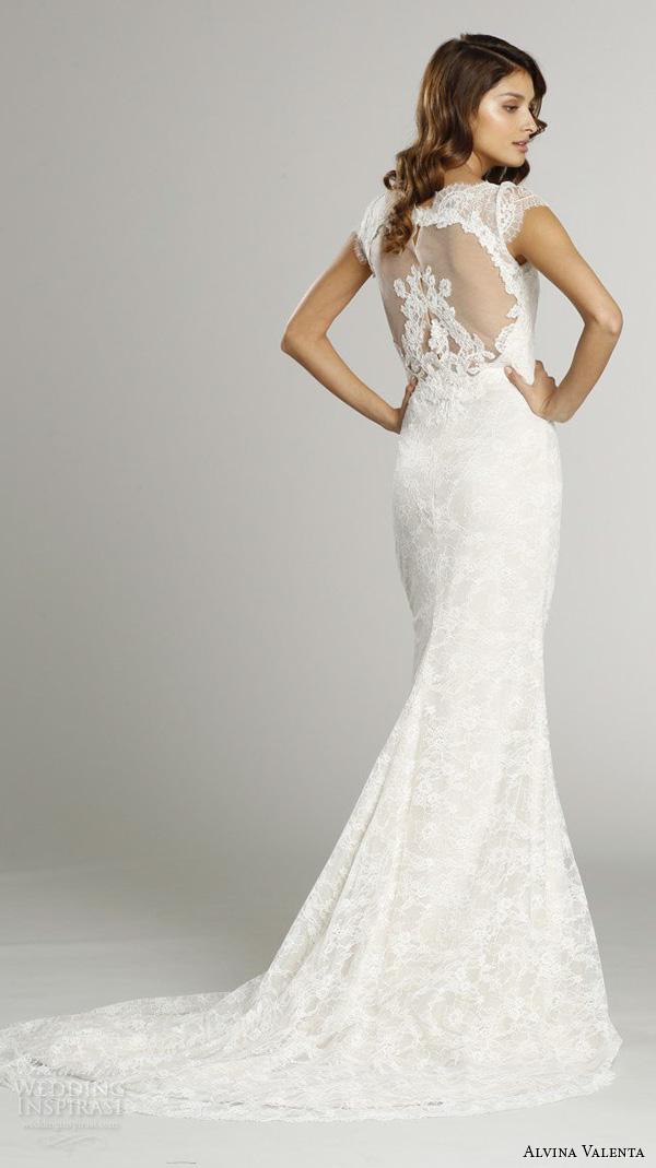 alvina valenta fall 2015 wedding dresses cap sleeves bateau neckline lace bodice detachable tulle overskirt jeweled belt sheath wedding dress av9552 back view