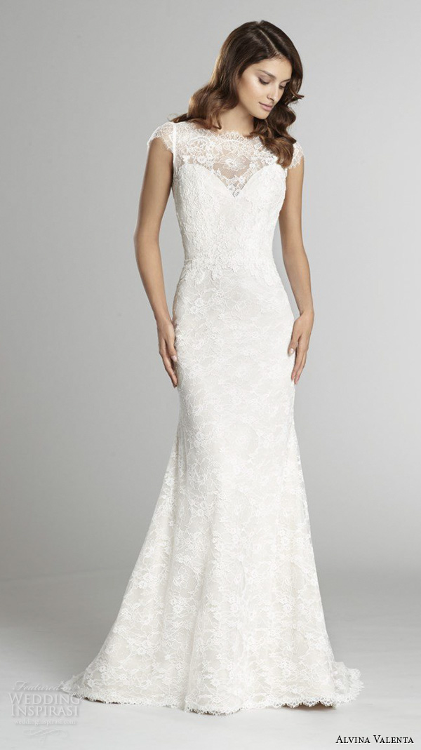 alvina valenta fall 2015 wedding dresses cap sleeves bateau neckline lace bodice detachable tulle overskirt jeweled belt sheath wedding dress av9552