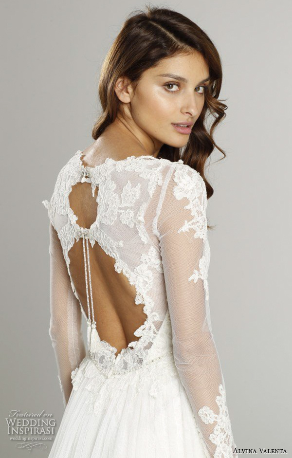 alvina valenta fall 2015 wedding dresses illusion lace long sleeves v neckline double keyhole back silm a line wedding dress av9558 back view close up