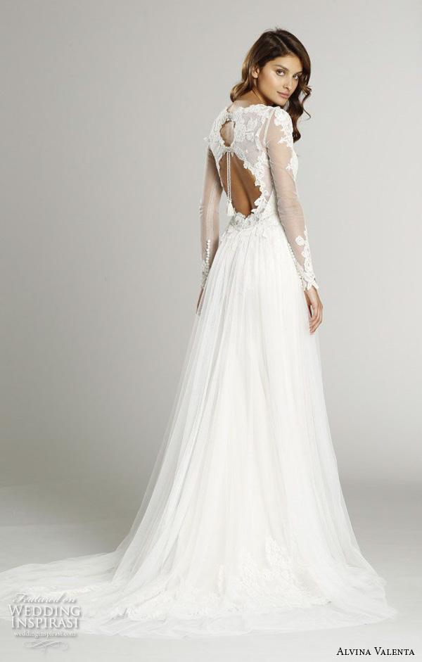 alvina valenta fall 2015 wedding dresses illusion lace long sleeves v neckline double keyhole back silm a line wedding dress av9558 back view