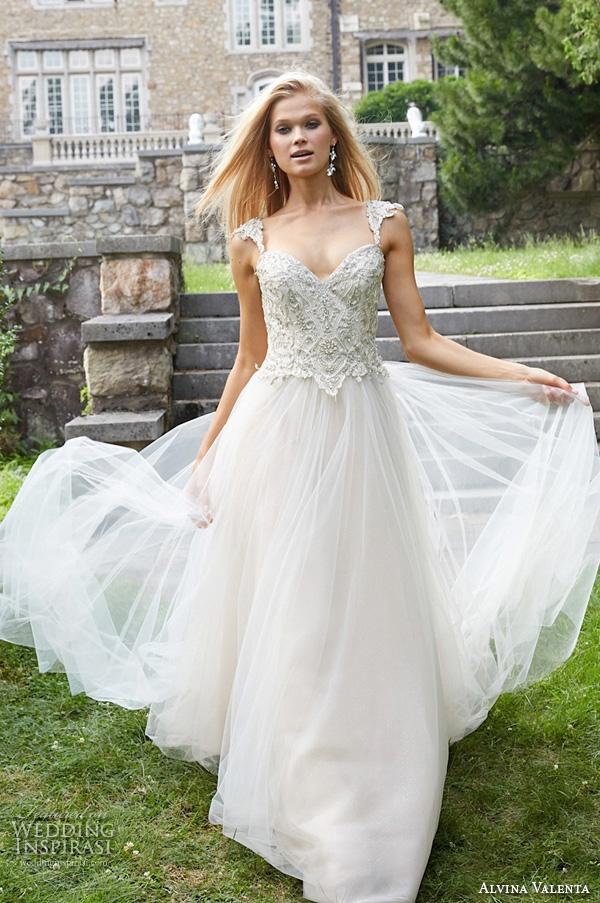 alvina valenta fall 2015 wedding dresses jeweled strap sweetheart neckline jeweled embroideried bodice tulle wedding ball gown av9561