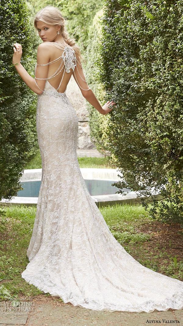 alvina valenta fall 2015 wedding dresses scoop neckline low open back ivory gold lace modified a line wedding dress shoulder jewelry av9557 back view