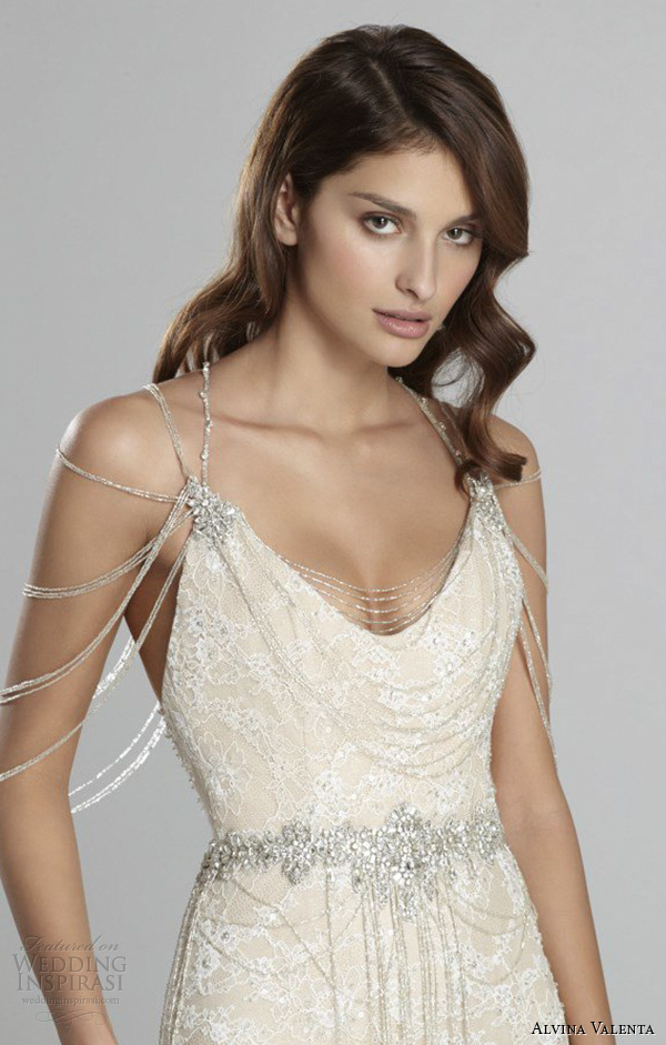 alvina valenta fall 2015 wedding dresses scoop neckline low open back ivory gold lace modified a line wedding dress shoulder jewelry av9557 front close up