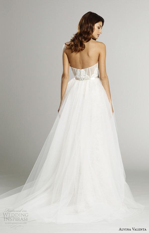 alvina valenta fall 2015 wedding dresses strapless sweetheart neckline corset back detachable tulle overskirt mermaid wedding dress av9553 back view