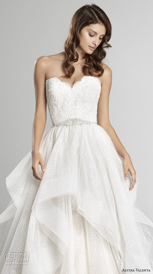 alvina valenta fall 2015 wedding dresses strapless sweetheart neckline embroidered bodice cascade layer a line wedding dress av9551 close up