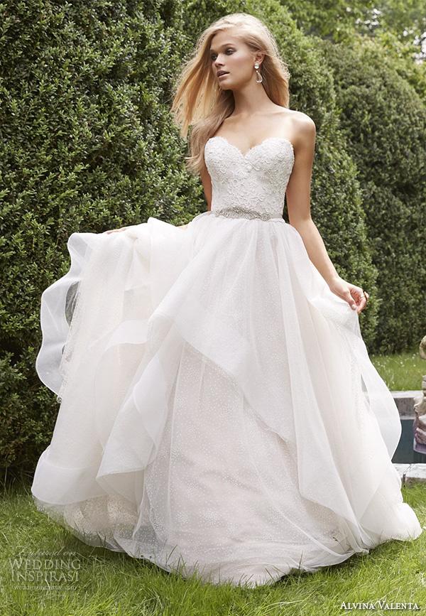 alvina valenta fall 2015 wedding dresses strapless sweetheart neckline embroidered bodice cascade layer a line wedding dress av9551