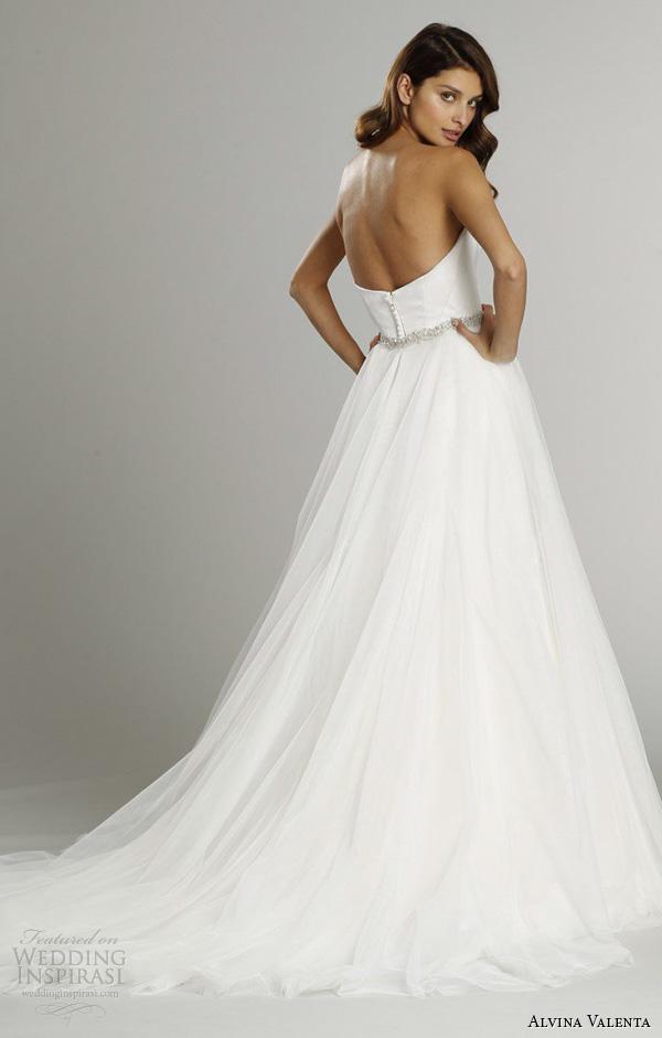 alvina valenta fall 2015 wedding dresses strapless sweetheart neckline silk faced modified a line wedding dress detachable tulle overskirt av9554 back view