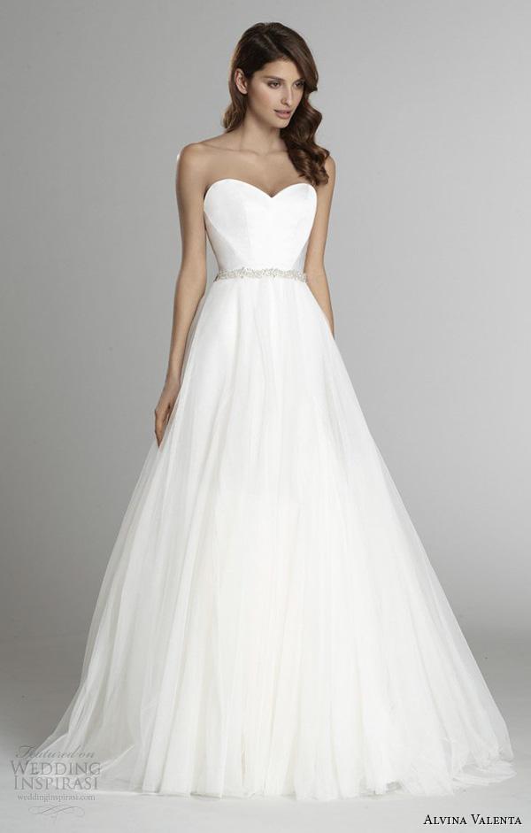 alvina valenta fall 2015 wedding dresses strapless sweetheart neckline silk faced modified a line wedding dress detachable tulle overskirt av9554
