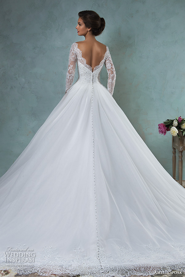 1ae8b4d6c8db3 amelia sposa 2016 wedding dresses bateau neckline lace long sleeves beaded  embellishment tulle skirt a line.